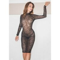 Patrice Catanzaro - Azia - Robe sexy noire micro résille motif arabesque