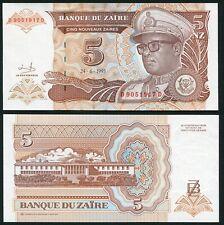 Congo Zaire 5 nouveaux zaires 1993.06.24 Mobutu P53a Signature 9 UNC