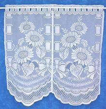 Scheibengardine,Bistrogardine,Cafehaus;Sonnenblumen/Weiß,Set 2 tlg.40 cm x 80 cm