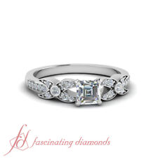 3/4 TCW. Asscher Cut Diamond Crusted Pave Set Engagement Ring VS1 GIA Certified