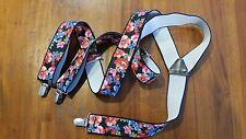 Ladies elastic braes flower print metal fittings preowned free post E1