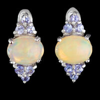 100% NATURAL 9X7MM ETHIOPIAN YELLOW WELO OPAL & TANZANITE SILVER 925 EARRING