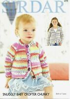 Sirdar Chunky Knitting Pattern 4779, Baby Cardigan Jacket from Birth to 7 Years