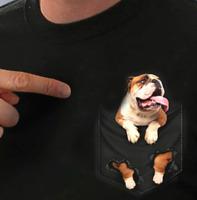 English Bulldog Inside Pocket Unisex T Shirt Full Size S-5XL