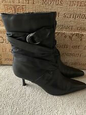 MODA IN PELLE BLACK HIGH HEEL BOOTS SIZE UK 4 EUR 37 IN NICE CONDITION