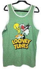 Looney Tunes Sylvester and Tweety graphic Licensed Men's Tank Green Tee Shirt