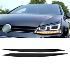 Pair Headlight Eyebrow Eyelids Trim Cover Black Fits Volkswagen Golf MK7 VW GTI