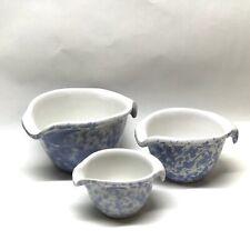 Bennington Pottery Morning Glory Blue Pour Bowls, 3 Piece Set