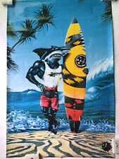 Maui And Sons Sharkman Character Vintage  Surfing Poster