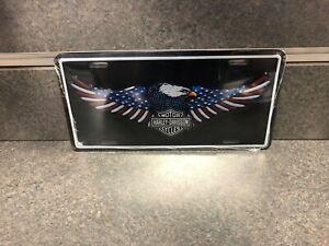 Harley-Davididson American Eagle Flag License Plate Stamped Aluminum Tag