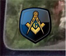 "ProSticker 106 (One) 4"" Masonic Freemason Shield Compass Square Decal Sticker"