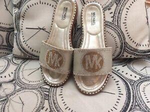 Genuine Michael Kors Diamonte Slidders Sandals Euro Size 41 Silver Gold Sparkle