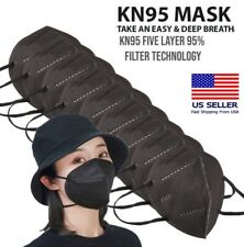 40/100 Pcs Black Rope KN95 Protective 5 Layer Face Mask Disposable Respirator US
