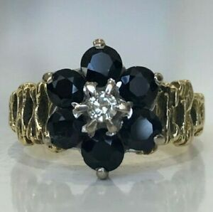 18k solid yellow gold Sapphire & diamond cluster ring 4.71g size I 1/2 - 4 1/2