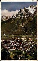 Mittenwald Bayern Oberbayern AK 1938 Karwendel Wörner gelaufen nach Hermsdorf