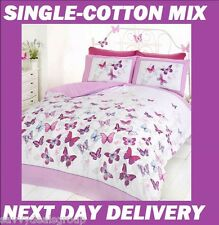 BUTTERFLY SINGLE DOONA COVER SET DUVET QUILT GIRLS PINK BUTTERFLIES, COTTON MIX
