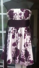 QED LONDON bustier blanc & violet floral satin court longueur robe-taille xs