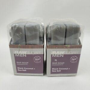 2X Raw Sugar Bar Soap Black Coconut & Sea Salt Cold Press Mens 2pk 5oz bars