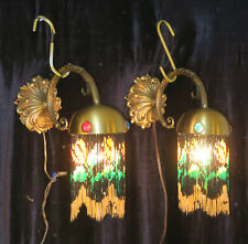 Jeweled Pair Antique Bronze Vintage wall Sconces glass Beaded Fringe Italy Brass