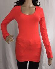 Large Seamless Orange Shirt Long Sleeve Base Layer Sexy Warm Winter Layering Top