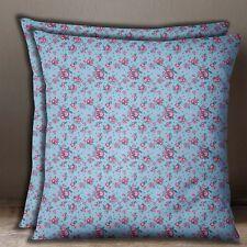 Square Floral Print Cotton Poplin Blue Cushion Cover Sofa Pillow Case Throw