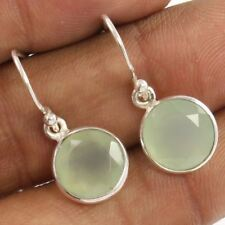 10x10 Round Earrings Natural AQUA CHALCEDONY Gemstones 925 Sterling Silver NEW