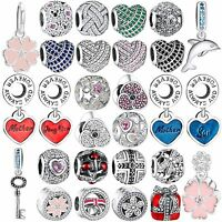 Authentic Shining CZ Crystals Charms Bead Fit 925 Silver Brand Bracelets Bangle