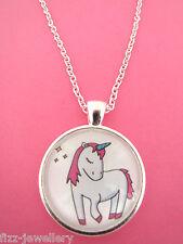 GRAZIOSA Unicorno Rosa Collana con ciondolo d'argento in vetro NUOVO nella borsa Regalo Natale