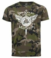 Herren Camo-Shirt See you in Valhalla Schwert Runen Odin Vikings Camouflage