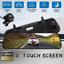 10 inch Full HD 1080P Car DVR Dual Lens Dash Cam Rearview Mirror Night Vision