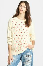 MINKPINK New Ready Or Not Ivory Cable Knit Pom Pom Chunky Sweater Large L NWT