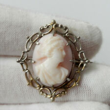 Antique Victorian Angel Skin Shell Cameo Brooch Pin