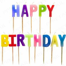 HAPPY BIRTHDAY CANDLES SET Coloured Party Fun Novelty Cake Decoration Toppers