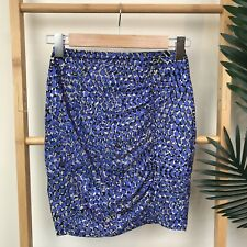 b66458a192 Kookai Blue Grey Print Mini Skirt Size 1 XS Ruched Fitted Bodycon Stretch  Womens