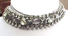 Ancien collier large tour de cou bijou vintage couleur argent cristaux  72