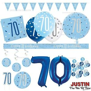 Blue 70th Birthday Party Decorations Supplies Boy Mens Balloons Banners etc
