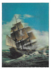 3D Lenticular Sailing Ship Sea Gulls Ocean Vintage 4X6 Postcard Samco Assoc