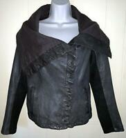 ALLSAINTS SPITALFIELDS WOMENS BROWN LEATHER KAITO JACKET UNUSUAL NECKLINE-SIZE 8