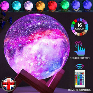 3D Moon Lamp 16 Colors Dimmable LED Light USB Touch Room Decor w/ Remote Control