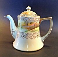 Nippon Teapot - Hand Painted Tree In The Meadow With Raised Gold Moriage - Japan