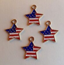 PATRIOTIC STAR CHARMS - JEWELRY, SCRAPBOOKING, JULY 4th CRAFTS  -- 15mm -- 4pcs