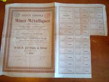 Vintage share certificate Stocks Bonds societe generale mines Metalliques 1901