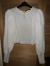 ZARA White Broderie Anglaise Cropped Blouse Size L - very small size L