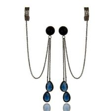 Oxidized 925 Sterling Silver Blue Corundum Chain Fashion Ear Cuff Earrings