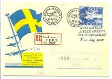 SWEDEN 1936  SPEC FLIGHT COVER - REG FDC    VF