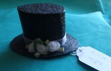 Black Sparkle Paper Top Hat w White Roses & Ribbon Band Ken Barbie Doll Knh424
