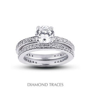 2.38ct F-SI2 Round Natural Certified Diamonds 18k Classic Matching Bridal Set