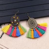 Women Hollow Bohemian Vintage Long Tassel Fringe Boho Dangle Earrings Jewelry