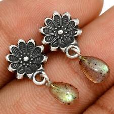 Flower - Labradorite - Madagascar 925 Sterling Silver Earrings Jewelry BE57021