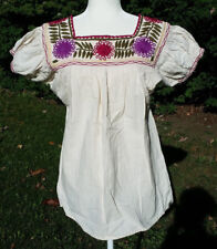 Maya Mexican Blouse Top Shirt Embroidered Flowers Chiapas Off-White Small 311